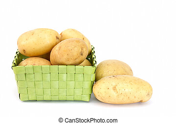 Pototoes in a green box on white