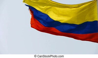 Columbian flag is fluttering in wind.