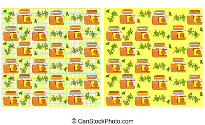 seamless pattern with a pot of jam