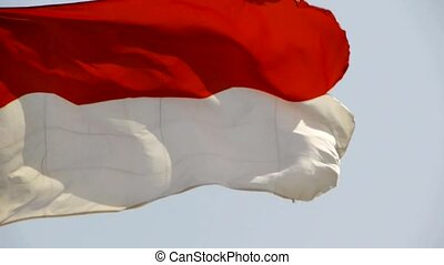 Indonesia flag is fluttering in wind.