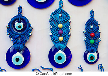 Turkish evil eye - Blue Turkish evil eye with handcraft...