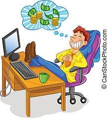 thinking of money - man sitting at the office and thinking...