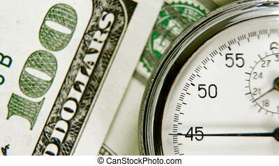 Time Is Money - The stopwatch on the dollar cash