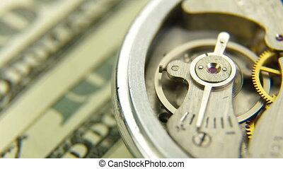 Time Is Money - Lots of hundred bills and watch