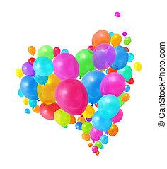voando, balões, coloridos