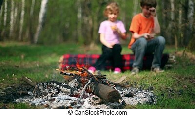 Boy and little girl sit on log, they drink juice and watch at bonfire