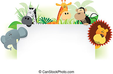 Wild Animals Letterhead Background - Illustration of cute...