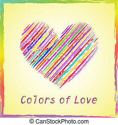 Greeting cards - Greeting card with abstract colorful heart...