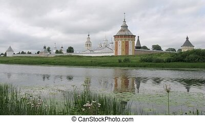 Clouds fly above Spaso Prilutskij monastery in Vologda, time...