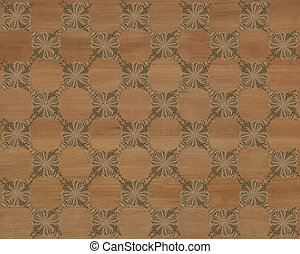 Faux Wood Marquetry Design #1 - Wood tile with darker...