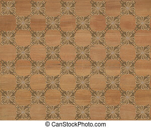 Faux Wood Marquetry Design #2 - Wood tile with darker...