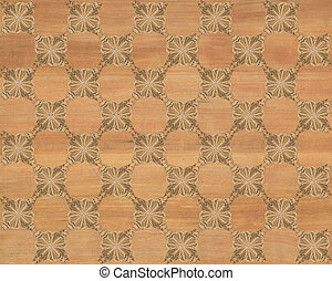 Faux Wood Marquetry Design #3 - Wood tile with darker...