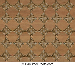 Faux Wood Marquetry Design #21 - Wood tile with darker...