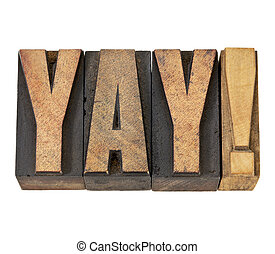 yay exclamation in wood type - yay exclamation - approval,...