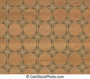 Faux Wood Marquetry Design #22 - Wood tile with darker...