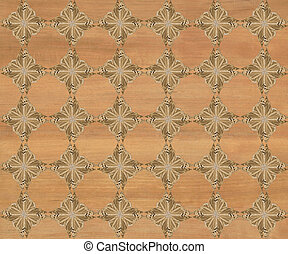 Faux Wood Marquetry Design #23 - Wood tile with darker...