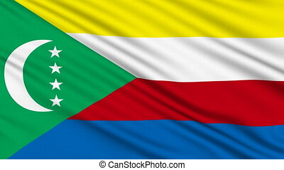 Comoros Flag - Comoros Flag, with real structure of a fabric...