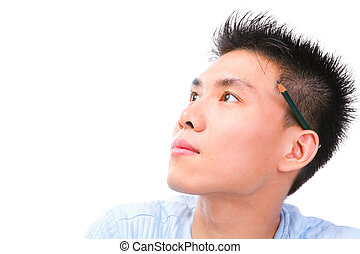 Young Chinese cholar looking away - Portrait of young...