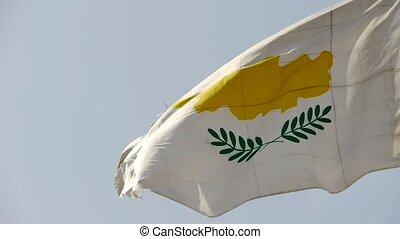 Cyprus flag is fluttering in wind