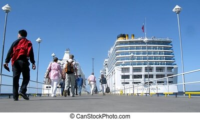 People board cruise liners