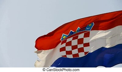 Croatia flag is fluttering in wind.