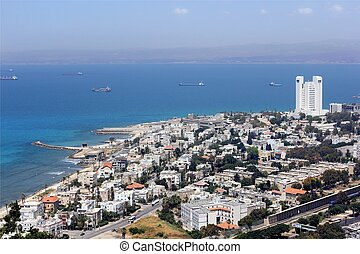 aerial view of Haifa city, ships were at anchor in the...