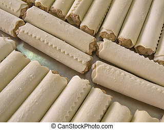 Meat Cannelloni - Cannelloni raw uncooked meat without...