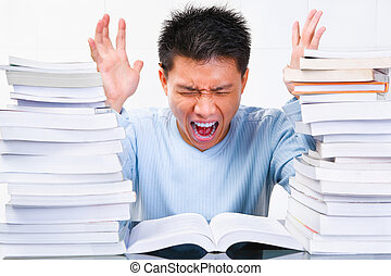 Stress Asian scholar - Portrait of a stress Chinese scholar...