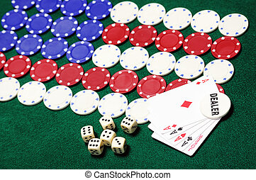 American - poker chips forming the American flag and dealer...