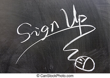 Sign up word and mouse sign drawn on chalkboard