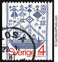 Postage stamp Sweden 1979 Drill-weave Tapestry - SWEDEN -...