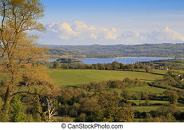 View to Chew Valley Lake reservoir on a sunny evening