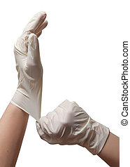 Hands of a doctor in a sterile gloves