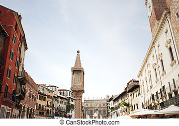 Piazza delle Erbe Verona - A panoramic view of the the place...
