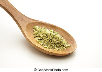 Salad spice on cooking spoon