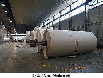 papel, Pulpa, molino, planta, -, Rollos, cartón