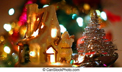 fabulous toy house with Santa Claus and small Christmas tree