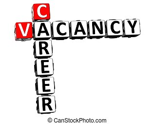 3D Career Vacancy Crossword on white background