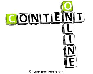 3D Online Content Crossword on white background