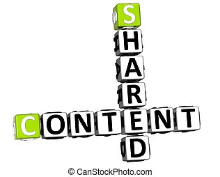 3D Shared Content Crossword on white background