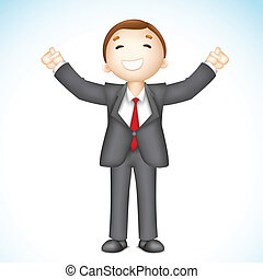 Happy 3d Business man in Vector - illustration of 3d...