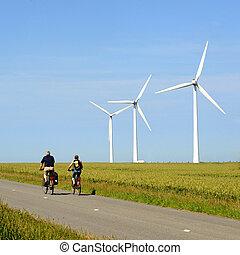 windturbines and bikers