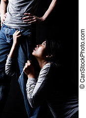 Man domination over woman - Portrait to show man domination...
