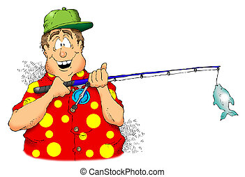 Fisherman - Cartoon image of a man holding a rod and reel...