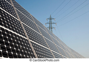 Renewable energy: solar panels of a highway Italian. A solar...