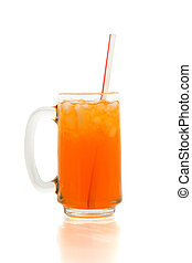 Orange Soda - Refreshing glass of orange soda with straw
