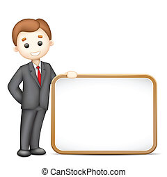 3d Business Man in Vector with Blank Board
