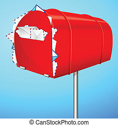 Spam Mail - illustration of over loaded mail box showing...