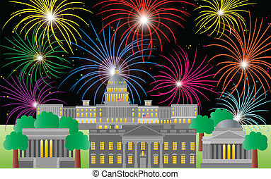 Washington DC Fourth of July Fireworks - Washington DC US...