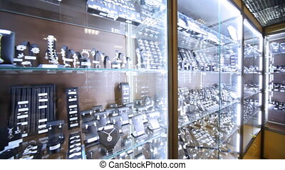 Showroom and shop windows with jewelry in salon Estet